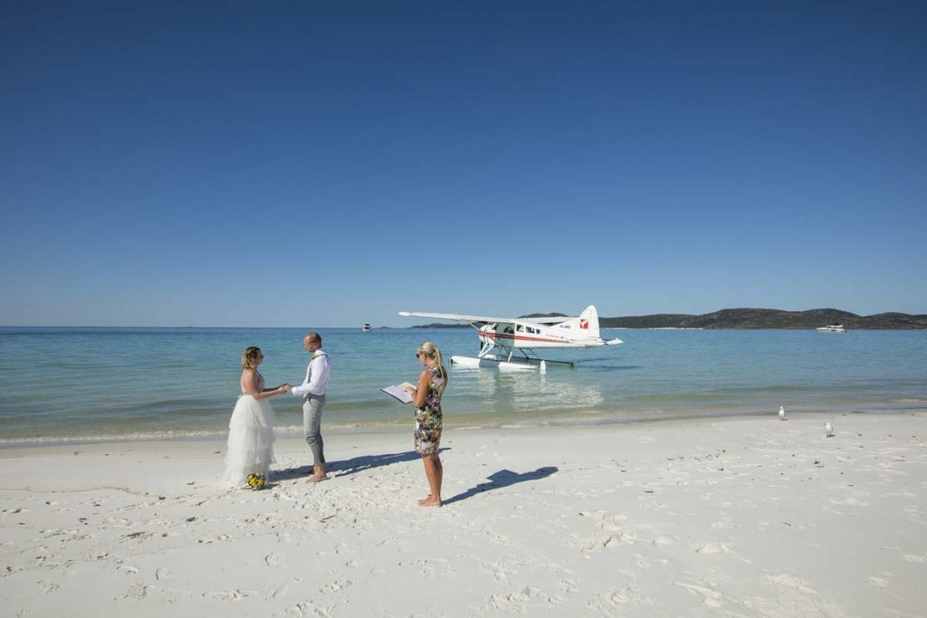 Whitehaven Beach Wedding by Seaplane